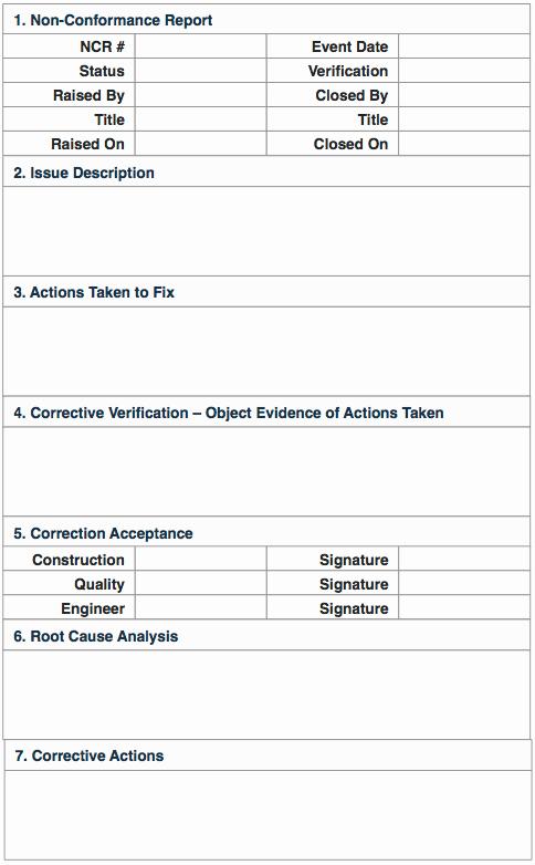 Non Conformance Report Template Fresh Non Conformance Reports Quality Control