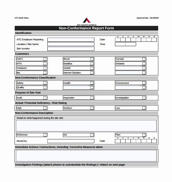 Non Conformance Report Template New 16 Non Conformance Report Templates Pdf Doc Word