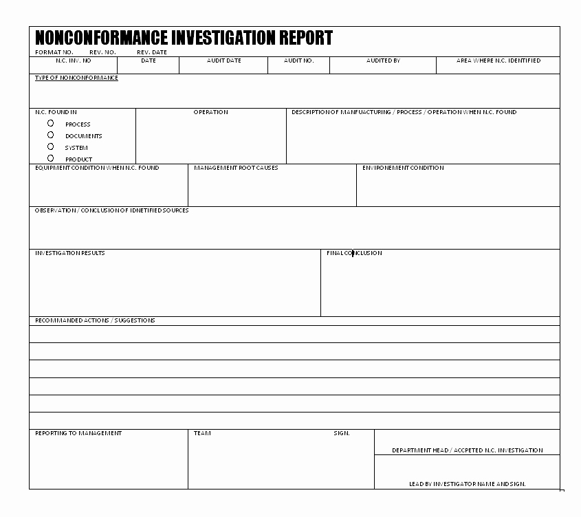 Non Conformance Report Template Unique Nonconformance Investigation Report format