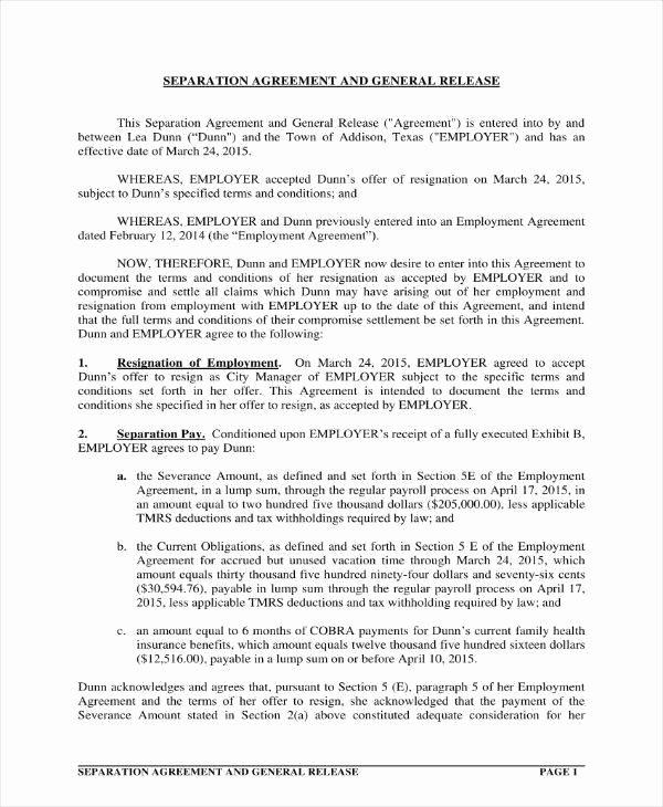 Non Disparagement Agreement Template Elegant 10 Separation and Release Agreement Templates Pdf