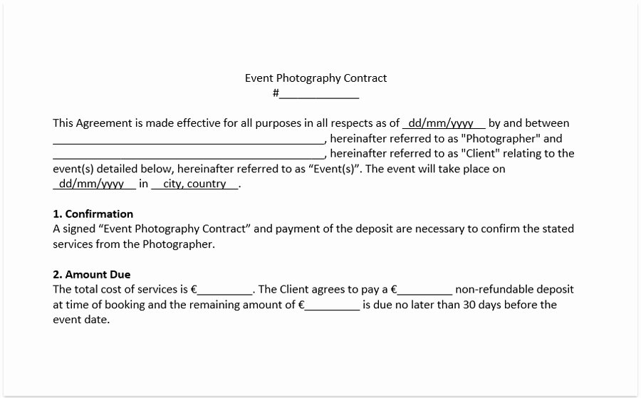 Non Disparagement Agreement Template Elegant Wedding Photography Contract Template Free Pdf