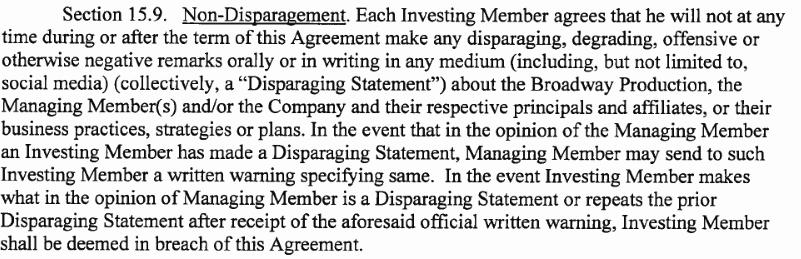 Non Disparagement Agreement Template Luxury Documents Define Non Disparagement Negative Act
