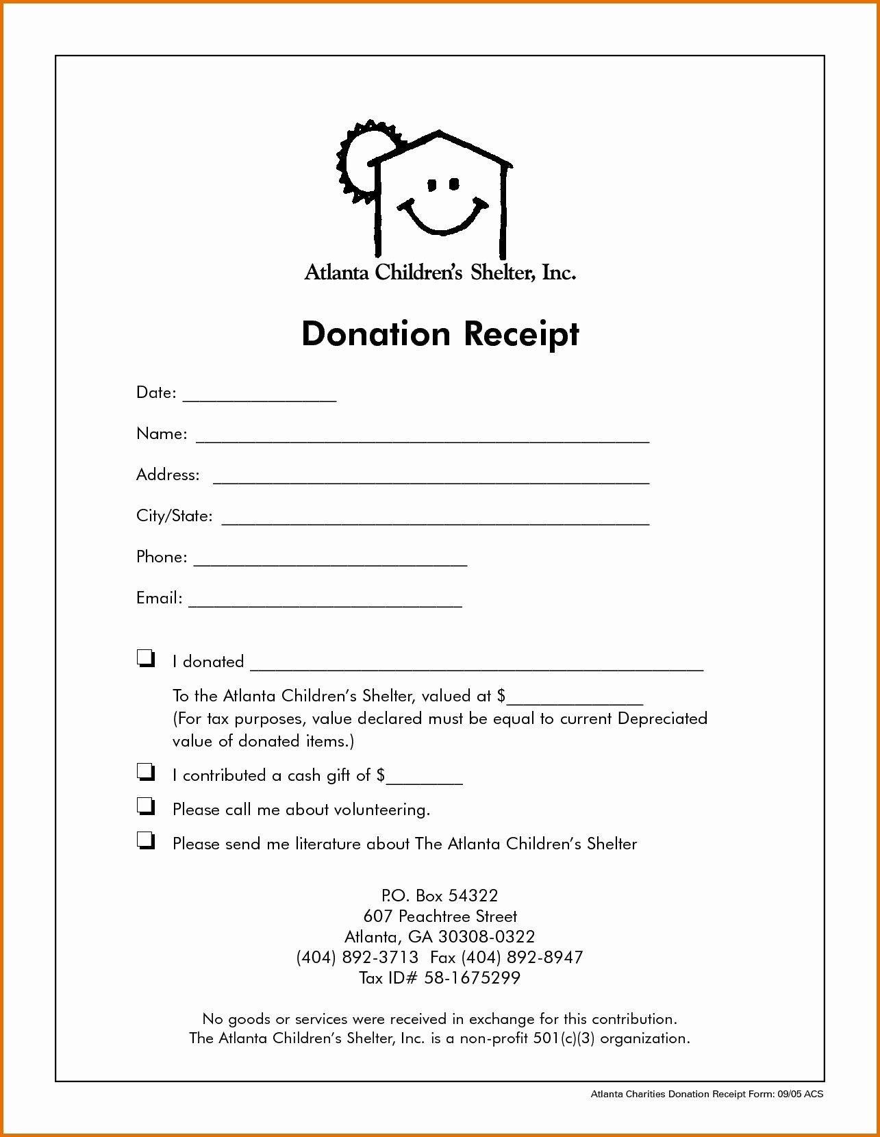 Non Profit Receipt Template Luxury Tax Receipt for Donation Template Downloadable Non Profit