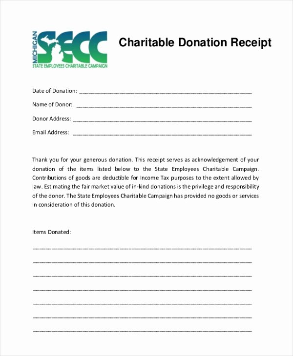 Nonprofit Donation Receipt Template New Sample Donation Receipt form 8 Free Documents In Pdf