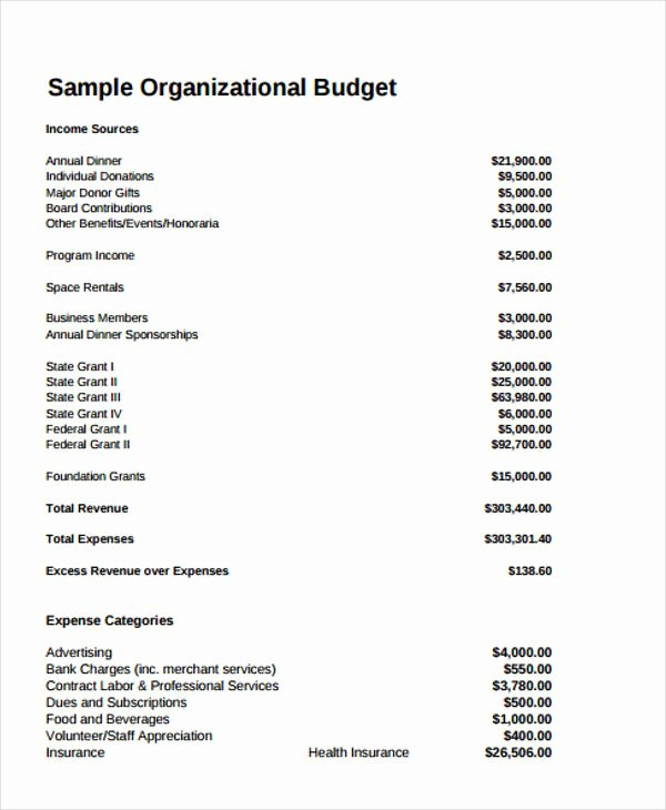 Nonprofit Operating Budget Template Beautiful Sample Bud for Nonprofit Startup Five Small but