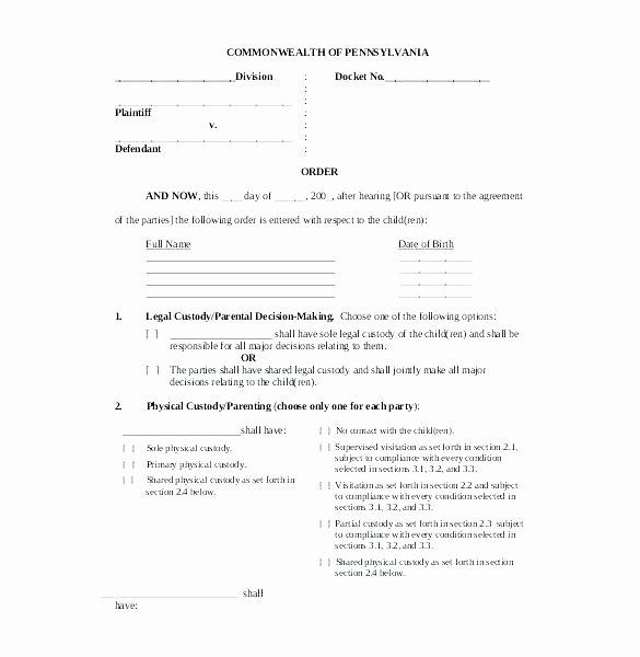 Notarized Custody Agreement Template Fresh Notarized Custody Agreement Template Luxury Child Support