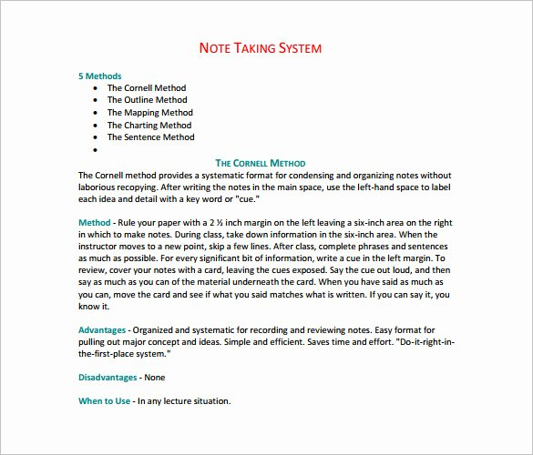 Note Taking Template Pdf Awesome Cornell Notes Template 51 Free Word Pdf format