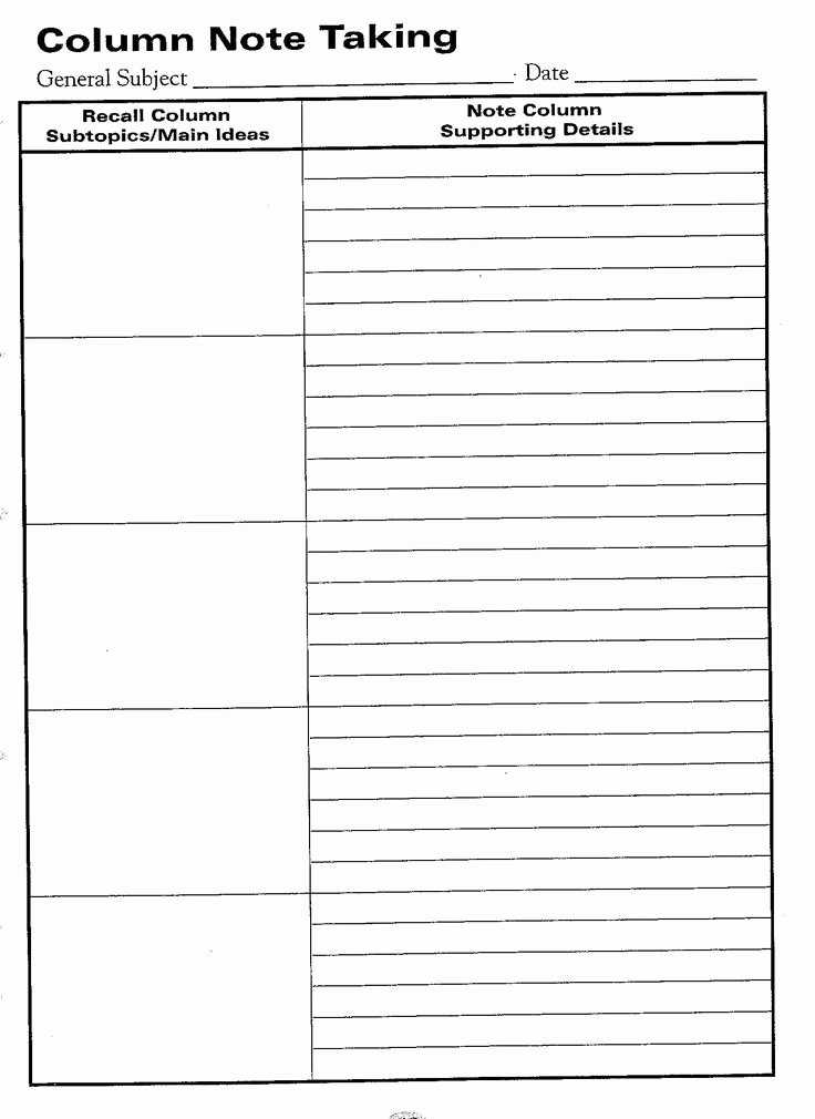 Note Taking Template Pdf Awesome Free Printable Cornell Notes Graphic organizer