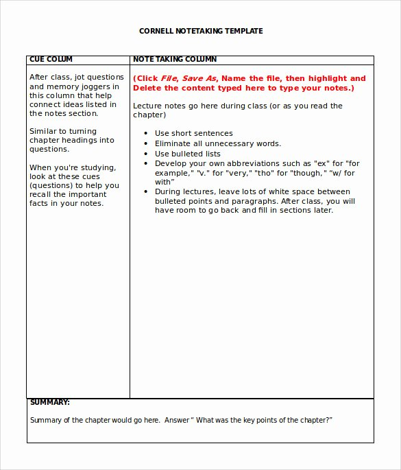 Note Taking Template Pdf Luxury 9 Cornell Note Taking Templates
