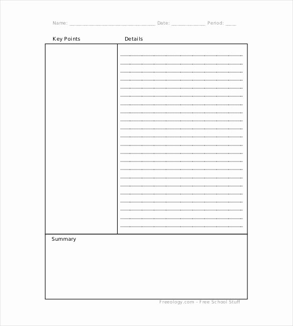 Note Taking Template Pdf New Blank Cornell Notes Template 5 Free Word Excel Pdf