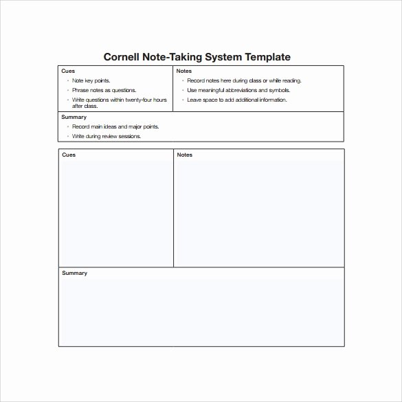 Note Taking Template Pdf Unique 16 Sample Editable Cornell Note Templates to Download