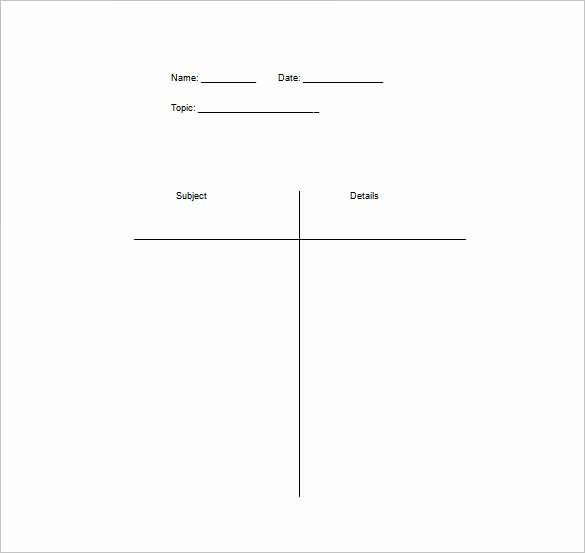 Note Taking Template Word Unique T Chart Template 15 Examples In Pdf Word Excel