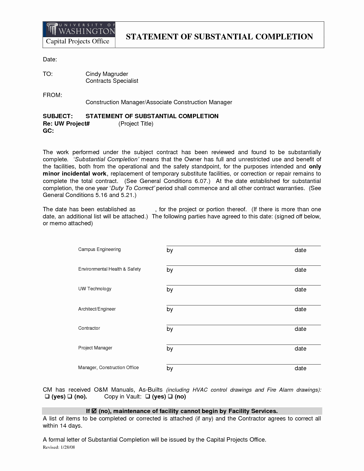 Notice Of Completion Template Best Of Download Certificate Substantial Pletion form for
