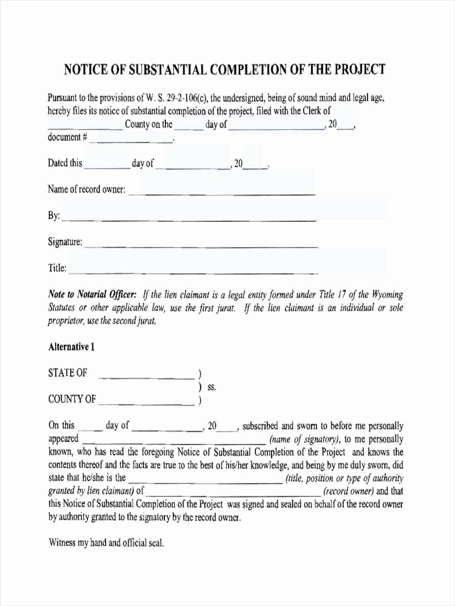 Notice Of Completion Template Best Of Notice Of Pletion forms 6 Free Documents In Word Pdf