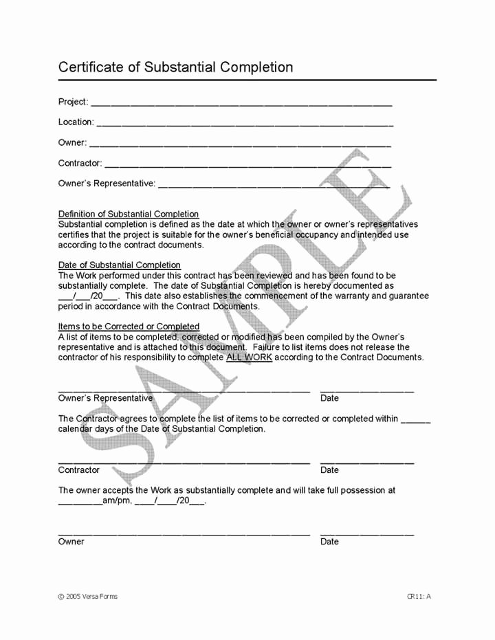 Notice Of Completion Template Elegant Certificate Substantial Pletion Template Certificate