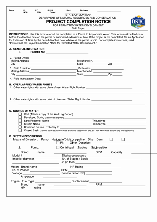 Notice Of Completion Template Elegant Fillable form 617 Project Pletion Notice for
