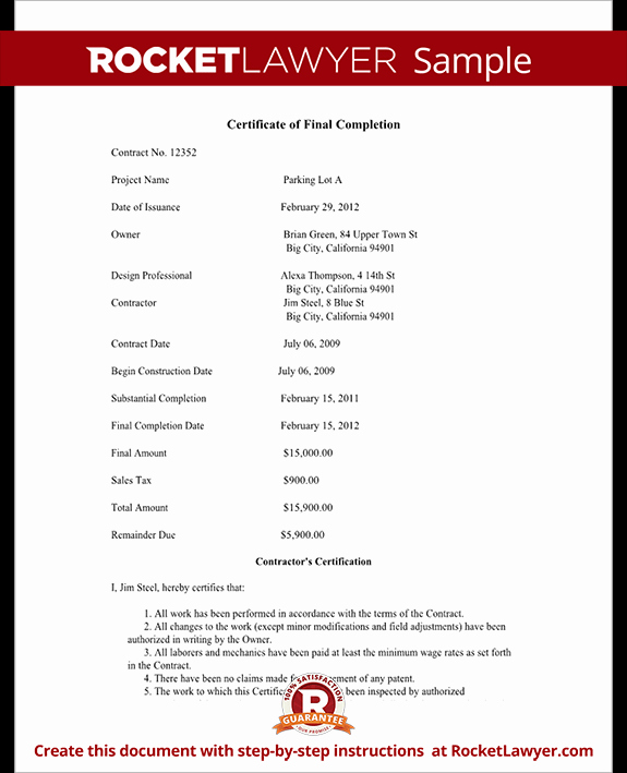 Notice Of Completion Template Inspirational Certificate Of Final Pletion form for Construction