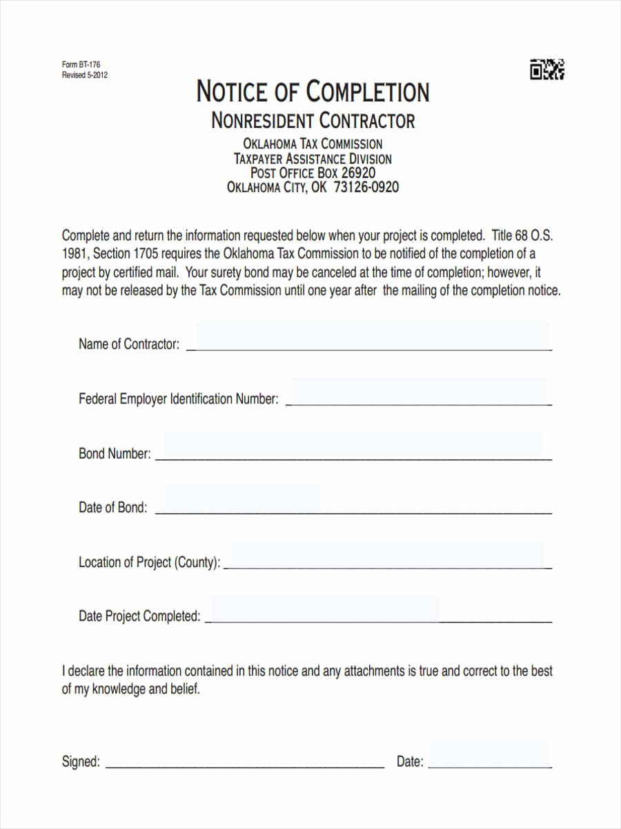 Notice Of Completion Template Luxury Notice Of Pletion forms 6 Free Documents In Word Pdf