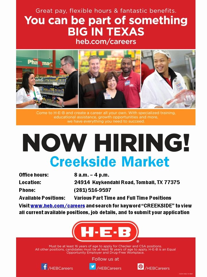 Now Hiring Flyer Template Beautiful H E B Careers Fans Our New Woodlands 5 Store Will Be