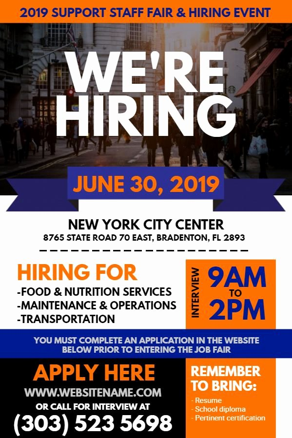 Now Hiring Flyer Template Unique Blue orange Hiring Flyer Design to Customize
