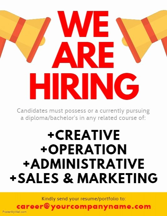 Now Hiring Template Free Awesome We are Hiring Flyer Template