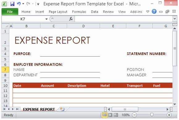 Numbers Expense Report Template Elegant Expense Report form Template for Excel