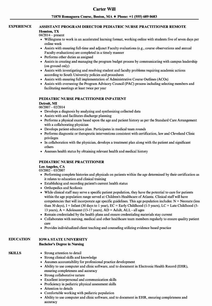 Nurse Practitioner Cv Template Awesome Pediatric Nurse Practitioner Resume Samples