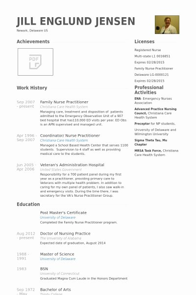 Nurse Practitioner Cv Template Fresh Nurse Practitioner Resume Christiantodayfo