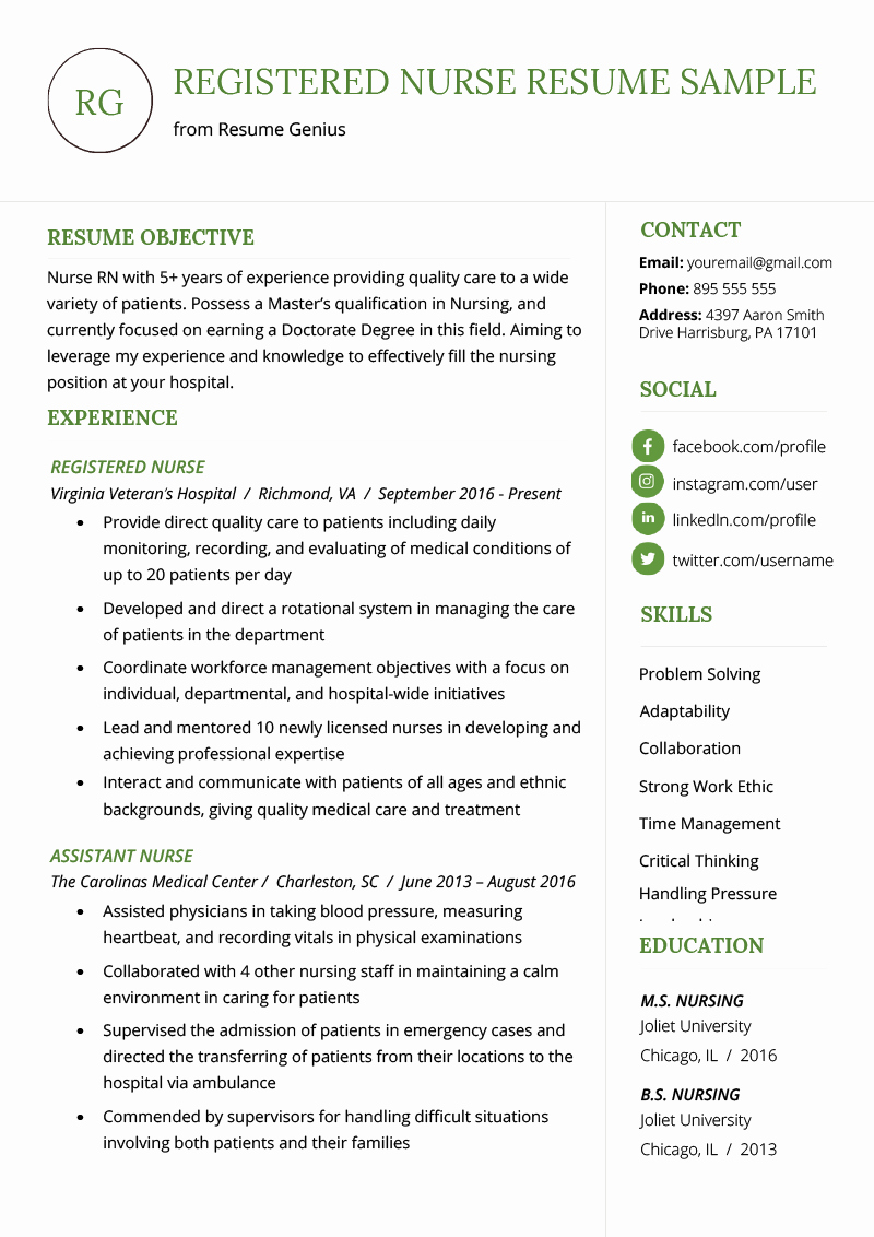 Nurse Practitioner Cv Template Inspirational Nursing Resume Sample & Writing Guide