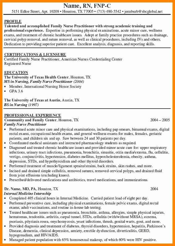 Nurse Practitioner Cv Template New 8 Family Nurse Practitioner Resume