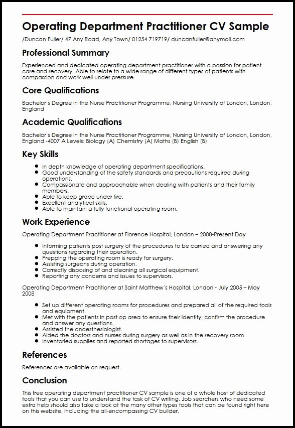 Nurse Practitioner Cv Template New Operating Department Practitioner Cv Sample