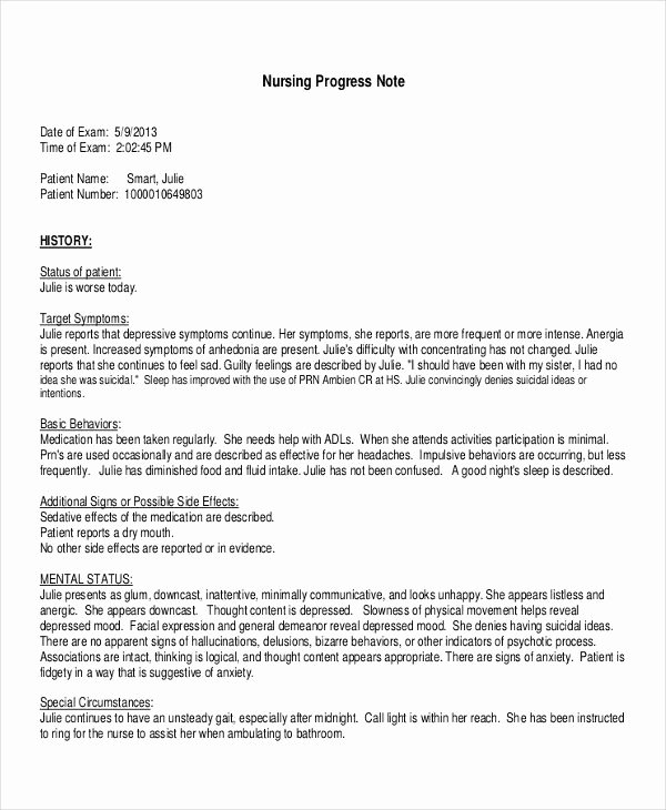 Nurse Progress Note Template Luxury 19 Progress Note Examples & Samples Pdf Doc