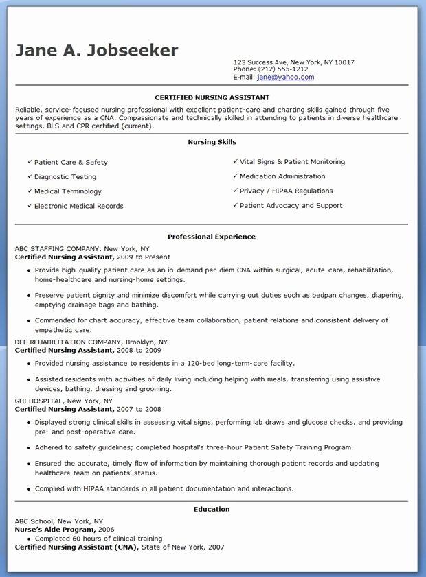 Nurse Resume Template Word Best Of Free Sample Certified Nursing assistant Resume