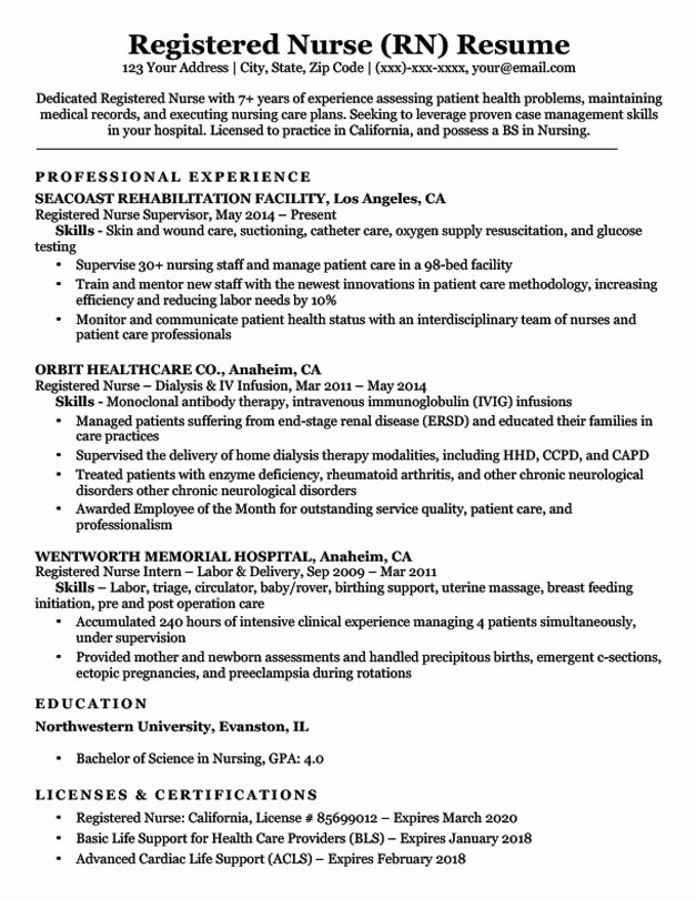 Nurse Resume Template Word Inspirational Registered Nurse Rn Resume Sample & Tips
