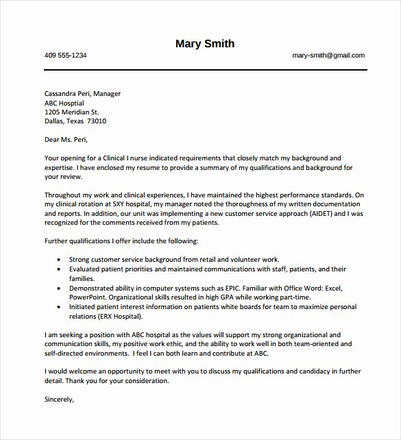 Nurses Cover Letter Template Luxury 8 Nursing Cover Letter Templates Free Sample Example
