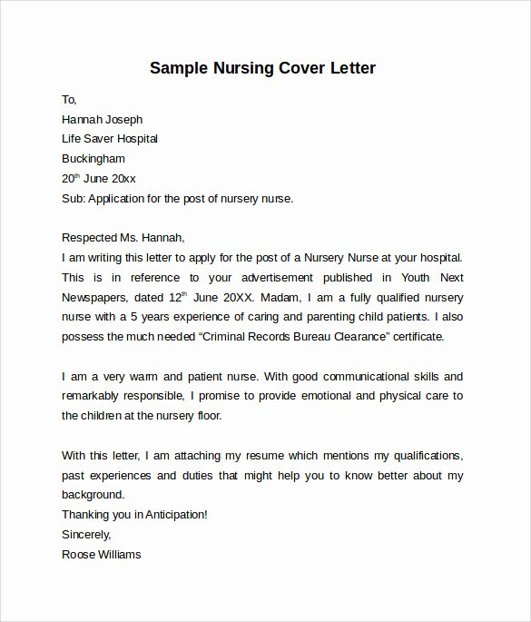 Nurses Cover Letter Template New 10 Nursing Cover Letter Template – Samples Examples