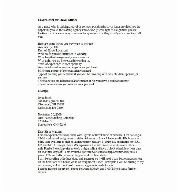 Nurses Cover Letter Template Unique 8 Nursing Cover Letter Templates Free Sample Example
