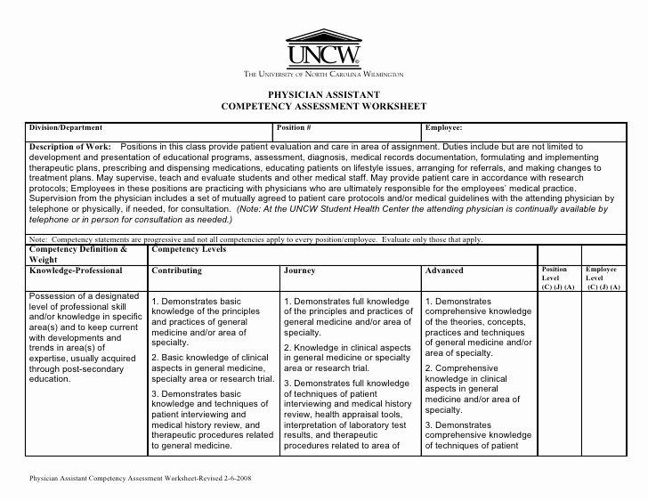 Nursing Competency assessment Template Elegant Physician assistant Petency assessment Worksheet