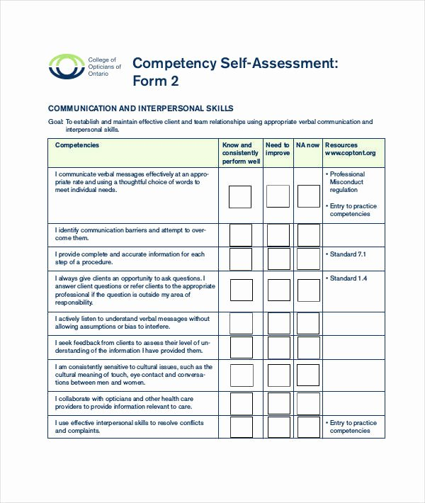 Nursing Competency assessment Template Inspirational 9 Of Munication Skills Self assessment Template