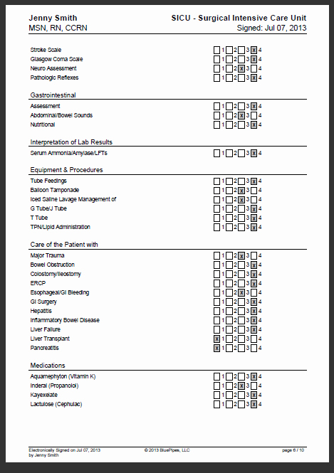 Nursing Competency assessment Template Lovely Sample Nursing Skills Checklist Bluepipes Blog