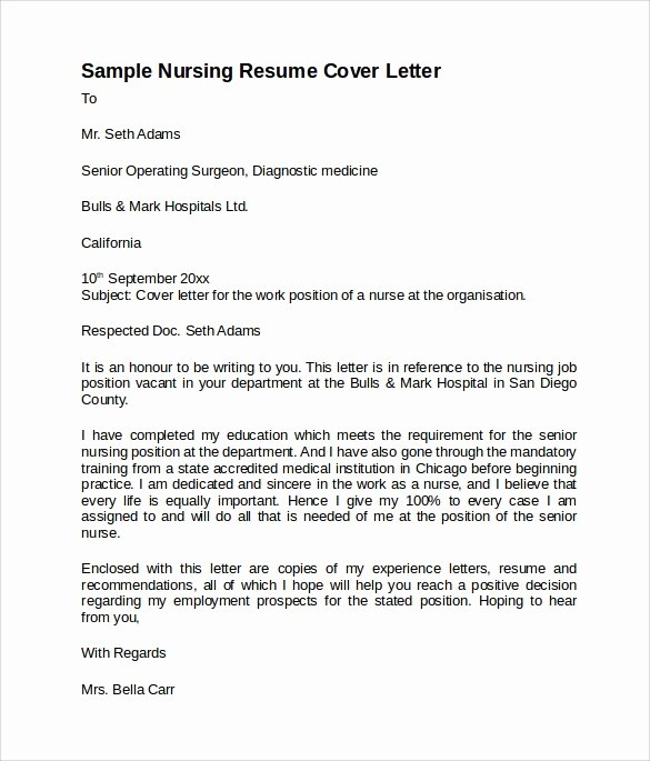 Nursing Cover Letter Template Awesome 8 Nursing Cover Letter Templates to Download
