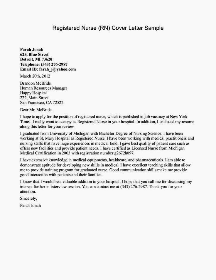 cover letter for lvn graduate nurse pintrest