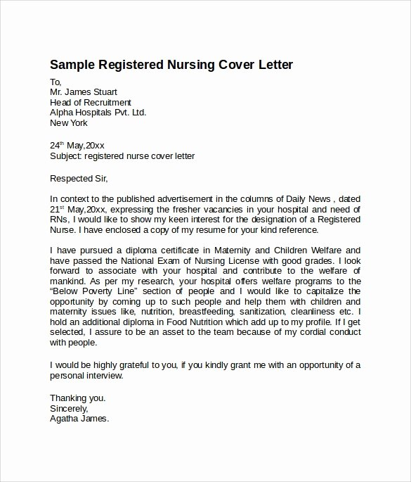Nursing Cover Letter Template Beautiful 8 Nursing Cover Letter Templates to Download