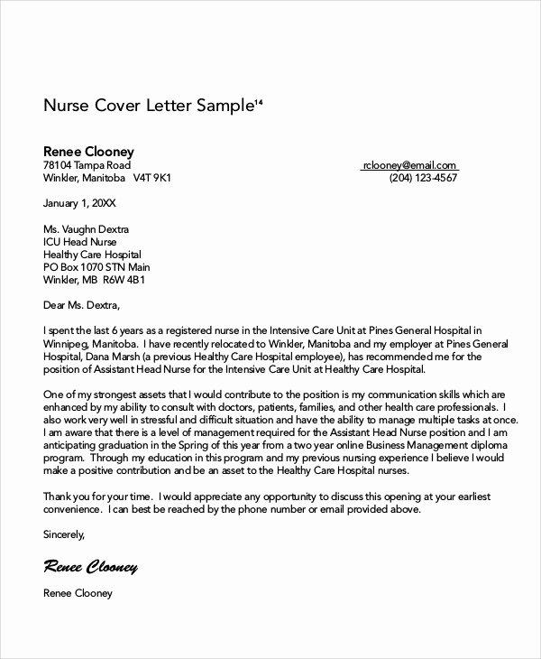 Nursing Cover Letter Template Best Of 8 Nursing Cover Letter Examples