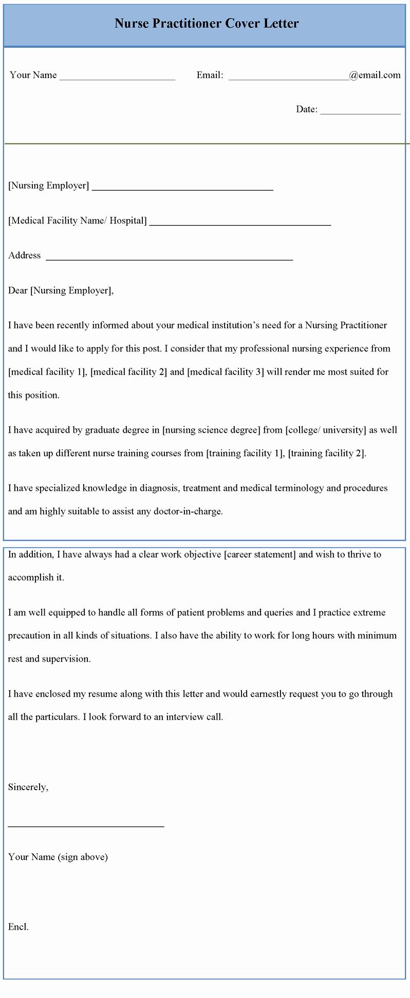 Nursing Cover Letter Template Lovely Cover Letter Example Cover Letter Template Nurse Practitioner