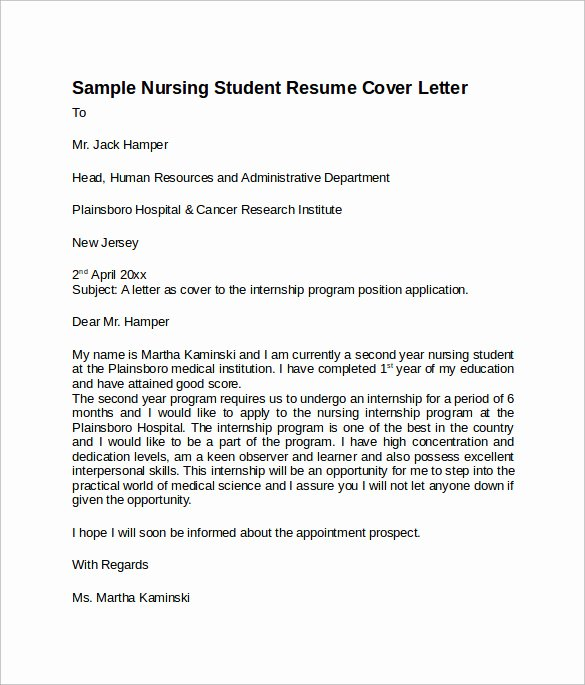 Nursing Cover Letter Template Luxury 8 Nursing Cover Letter Templates to Download