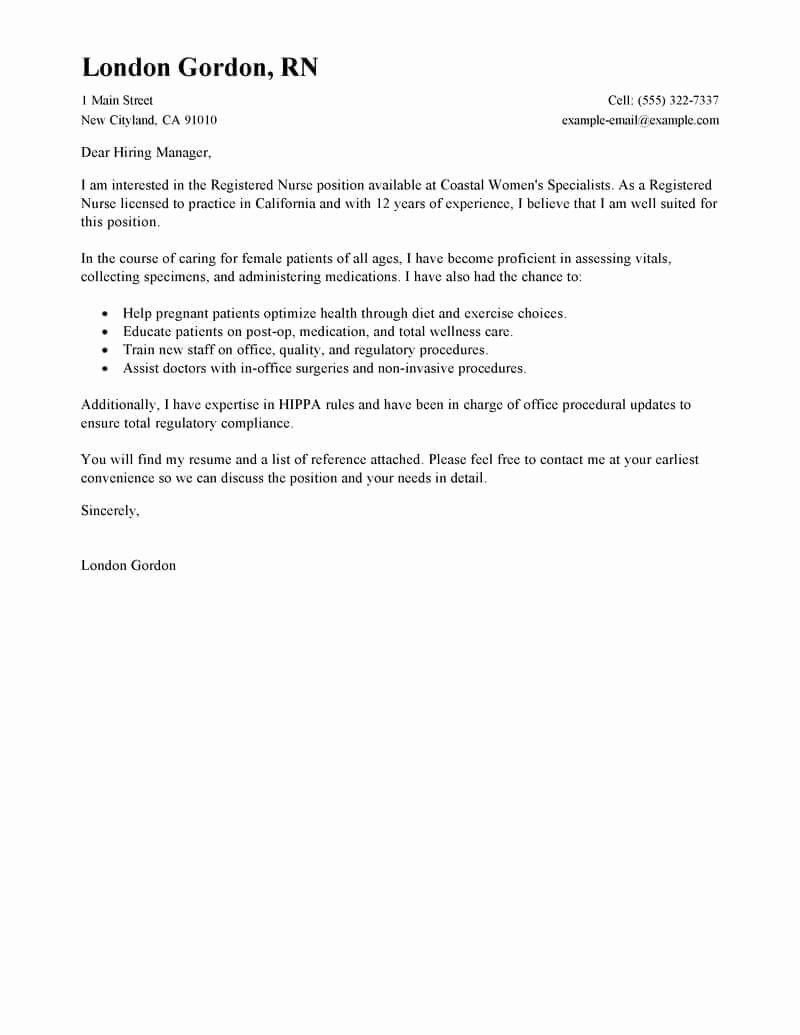 Nursing Cover Letter Template Luxury Best Registered Nurse Cover Letter Examples