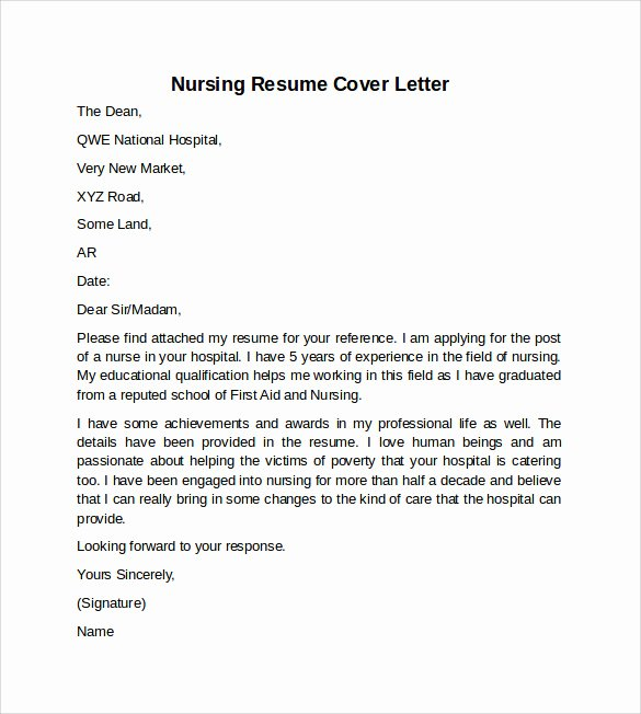Nursing Cover Letter Template Unique Resume Cover Letter for Nurses Examples Leading