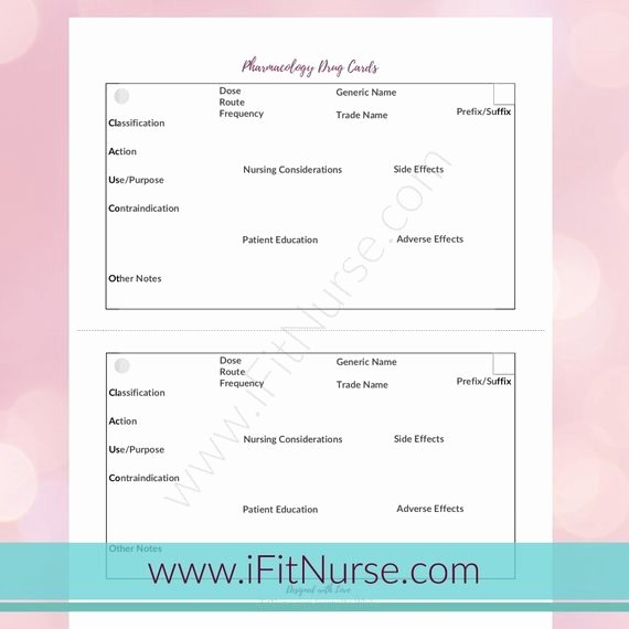 Nursing Drug Card Template Lovely with Drug Card Template Example Resume Template