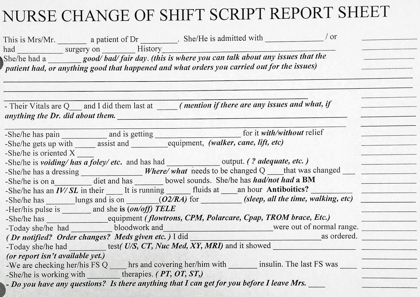 Nursing Shift Report Template New Awesome New Grad or Experienced Nurse Change Of Shift